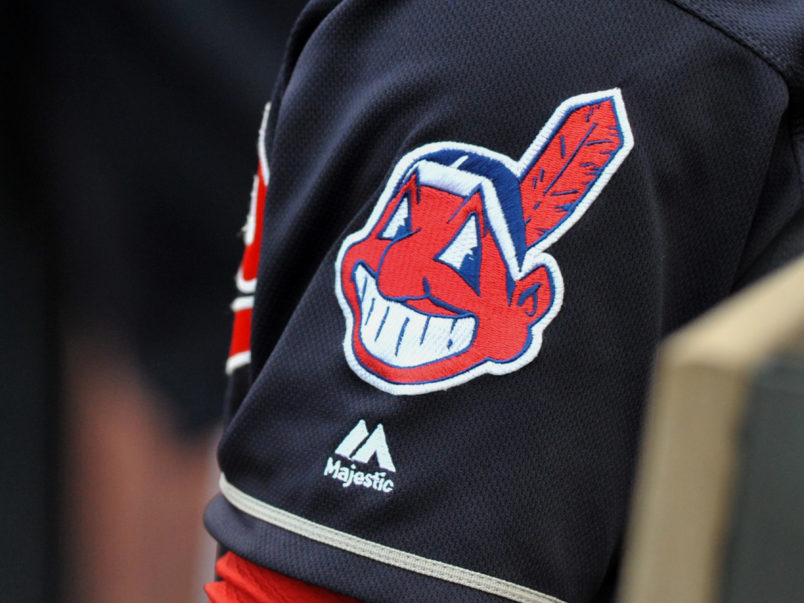 CLEVELAND, OH - MAY 17, 2016: A view of the Chief Wahoo logo on the sleeve of shortstop Francisco Lindor #12 of the Clevleand Indians during a game against the Cincinnati Reds on May 17, 2016 at Progressive Field in Cleveland, Ohio. Cleveland won 13-1. (Photo by: Nick Cammett/Diamond Images/Getty Images)  *** Local Caption *** Chief Wahoo