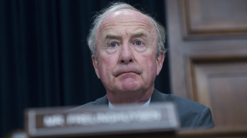 "UNITED STATES - JUNE 27: House Appropriations Chairman Rodney Frelinghuysen, R-N.J., prepares for a House Appropriations State, Foreign Operations and Related Programs Subcommittee hearing in Rayburn Building on the ""United Nations and International Organizations FY2018 Budget"" on June 27, 2017. U.S. ambassador to the United Nations Nikki Haley, testified. (Photo By Tom Williams/CQ Roll Call)"