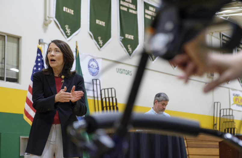 SEATTLE, WA - JULY 8:  Sen. Maria Cantwell (D-WA) speaks during a town hall at Evergreen High School, on July 8, 2017 in Seattle, Washington. The town hall, attended by more than 400 people, was one of several Cantwell scheduled throughout the the state during the Congress' Fourth of July recess that addressed constituent concerns from healthcare to immigration to the Presidential Advisory Committee on Election Integrity. (Photo by Stephen Brashear/Getty Images)