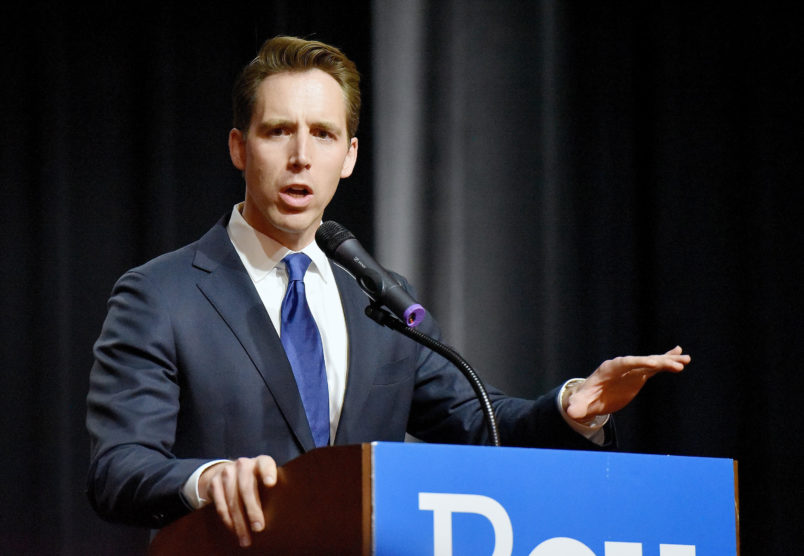 Missouri Attorney General Josh Hawley makes his acceptance speech on Nov. 9, 2016 in Springfield, Mo. (John Sleezer/Kansas City Star/TNS)