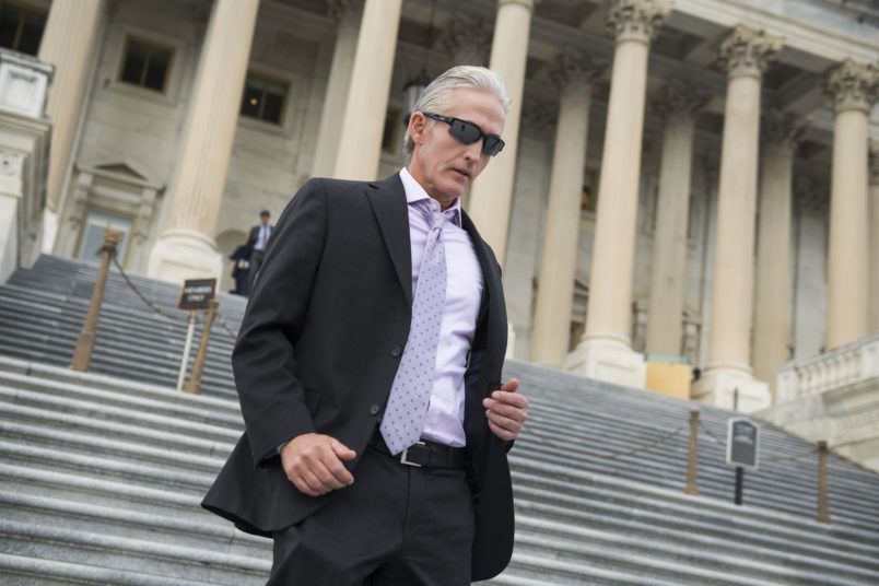 UNITED STATES - OCTOBER 26: Rep. Trey Gowdy, R-S.C., left, leaves the Capitol after the House passed a fiscal 2018 budget resolution on October 26, 2017. (Photo By Tom Williams/CQ Roll Call)