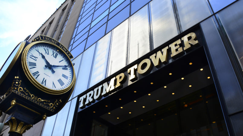 NEW YORK, NY - SEPTEMBER 22, 2017:  The public entrance to Trump Tower is on Fifth Avenue in New York, New York. (Photo by Robert Alexander/Getty Images)