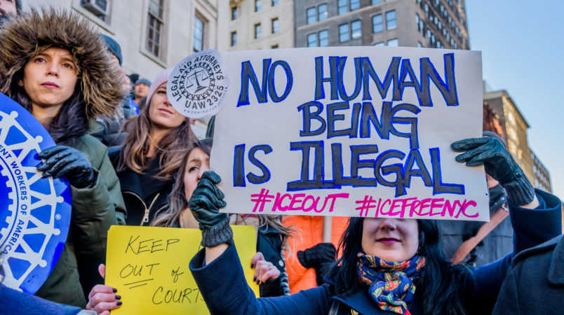 """BROOKLYN BOROUGH HALL, BROOKLYN, NY, UNITED STATES - 2017/12/07: The Association of Legal Aid Attorneys - UAW Local 2325 (ALAA), along with dozens of unions, immigrant rights organizations, and community groups held a rally on December 7, 2017 at Brooklyn Borough Hall to call on the Office of Court Administration (OCA) and Chief Judge Janet DiFiore to immediately implement a policy to prohibit Immigration & Customs Enforcement agents from entering state courthouses, and to end coordination with ICE.  Enacting these policies would help solidify New York City and New York State's """"Sanctuary"""" status and make sure that our courthouses are places of justice rather than fear. (Photo by Erik McGregor/Pacific Press/LightRocket via Getty Images)"""