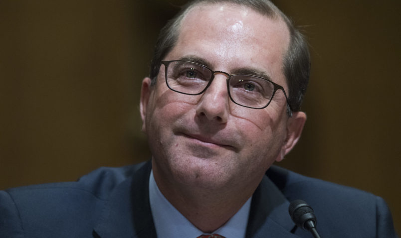 UNITED STATES - JANUARY 09: Alex Azar, nominee to be Department of Health and Human Services secretary, testifies during his Senate Finance Committee confirmation hearing in Dirksen Building on January 9, 2018. (Photo By Tom Williams/CQ Roll Call)