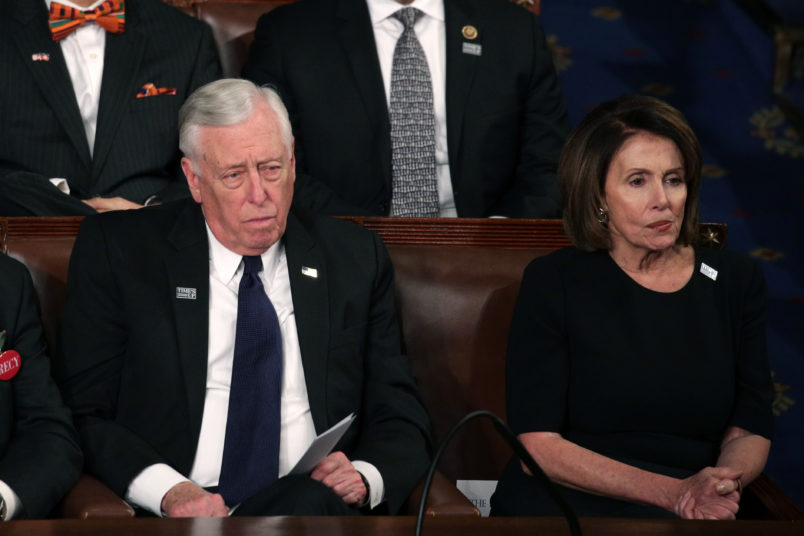 during the State of the Union address in the chamber of the U.S. House of Representatives January 30, 2018 in Washington, DC. This is the first State of the Union address given by U.S. President Donald Trump and his second joint-session address to Congress.