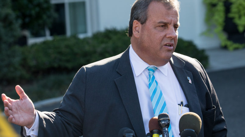 Chris Christie, governor of New Jersey, speaks to reporters outside the West Wing of the White House, on Thursday October 26th, 2017. (Photo by Cheriss May/NurPhoto)