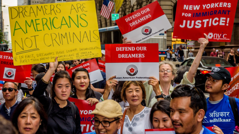 TRUMP TOWER, NEW YORK, UNITED STATES - 2017/10/05: The Asian American Federation partnered with leading immigrant advocacy groups in New York to hold the Asian-American Dreamer rally outside Trump Tower in Manhattan on October 5, 2017; to defend the future of DACA, and in support of Asian-American DACA recipients who are being impacted by the dissolution of the DACA program under the Trump administration. (Photo by Erik McGregor/Pacific Press/LightRocket via Getty Images)