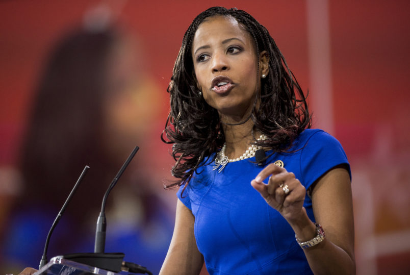 UNITED STATES - FEBRUARY 26: Rep. Mia Love, R-Utah, speaks to the crowd at CPAC in National Harbor, Md., on Feb. 26, 2015. (Photo By Bill Clark/CQ Roll Call)