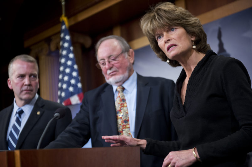 "UNITED STATES - JANUARY 26: From left, Sen. Dan Sullivan, R-Alaska, Rep. Don Young, R-Alaska, and Senate Energy and Natural Resources Chairwoman Lisa Murkowski, R-Alaska, conduct a news conference in the Capitol's Senate studio to ""respond to the Obama administration's efforts to lock up millions of acres of the nation's richest oil and natural gas prospects on the Arctic coastal plain and move to block development of Alaska's offshore resources,"" January 26, 2015. (Photo By Tom Williams/CQ Roll Call)"