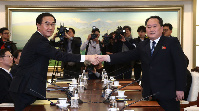 on January 9, 2018 in Panmunjom, South Korea. South and North Korea are scheduled to begin their first official face-to-face talks in two years on Tuesday, January 9, 2017.