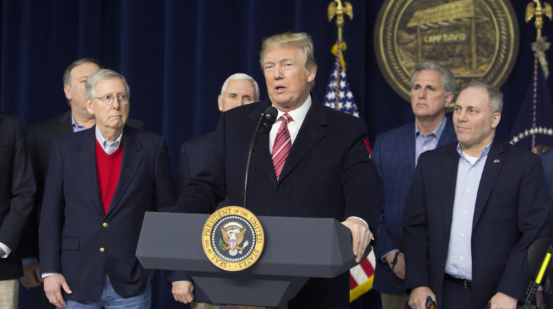 06 January 2018- Thurmont MD- U.S. President Donald J. Trump speaks at Camp David after holding meetings with staff, members of his Cabinet and Republican members of Congress to discuss the Republican legislative agenda for 2018.Photo Credit: Chris Kleponis/Sipa USA