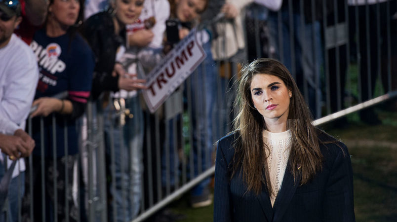 UNITED STATES - FEBRUARY 28: Hope Hicks, communications aide for Republican presidential candidate Donald Trump, attends a campaign rally at Madison City Schools Stadium in Madison, Ala., February 28, 2016. (Photo By Tom Williams/CQ Roll Call)