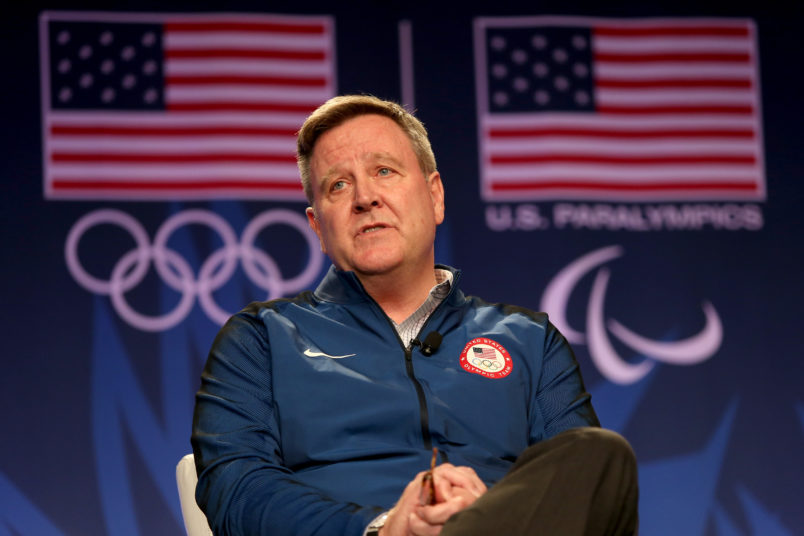addresses the media at the USOC Olympic Meida Summit at The Beverly Hilton Hotel on March 7, 2016 in Beverly Hills, California.