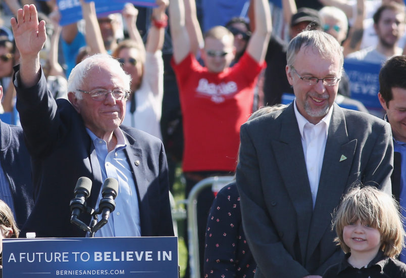 "NEW YORK, NY - APRIL 17:  Jane Sanders (L), Democratic presidential candidate U.S Senator, Bernie Sanders (C), Levi Sanders (2nd R) attend, ""A Future To Believe In"" GOTV rally concert at Prospect Park on April 17, 2016 in New York City.  (Photo by Mireya Acierto/FilmMagic)"