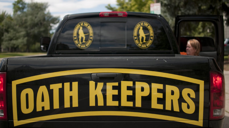 """A pickup of  an Oath Keeper from Idaho in Bozeman, Montana. The """"Oath Keepers"""" are a national, ultra-rightwing """"Patriot"""" group comprised of former and active military, police and public safety personnel who have taken an oath to """"uphold the Constitution"""" and to refuse to follow orders that they decide are unconstitutional."""