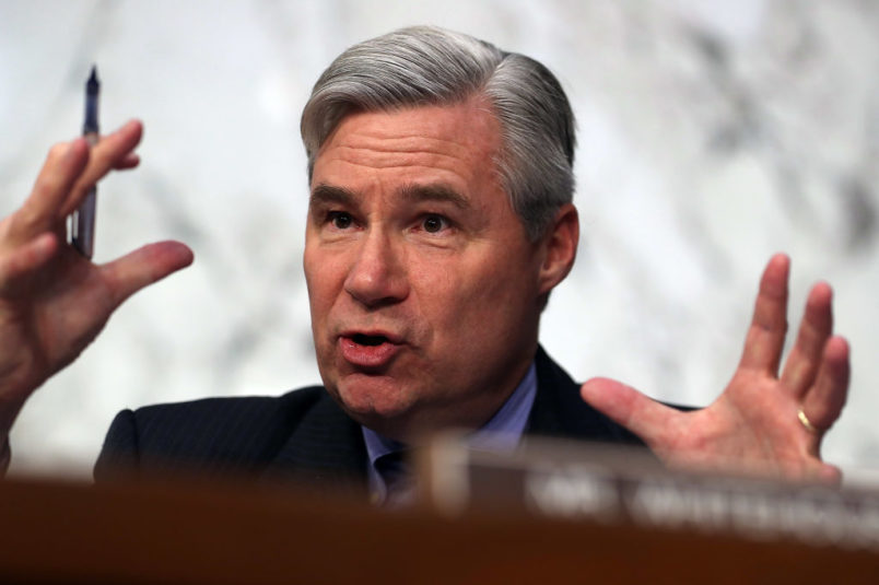 WASHINGTON, DC - MARCH 22:  Sen. Sheldon Whitehouse (D-RI) questions Judge Neil Gorsuch during the third day of his Supreme Court confirmation hearing before the Senate Judiciary Committee in the Hart Senate Office Building on Capitol Hill, March 22, 2017 in Washington. Gorsuch was nominated by President Donald Trump to fill the vacancy left on the court by the February 2016 death of Associate Justice Antonin Scalia.  (Photo by Justin Sullivan/Getty Images)