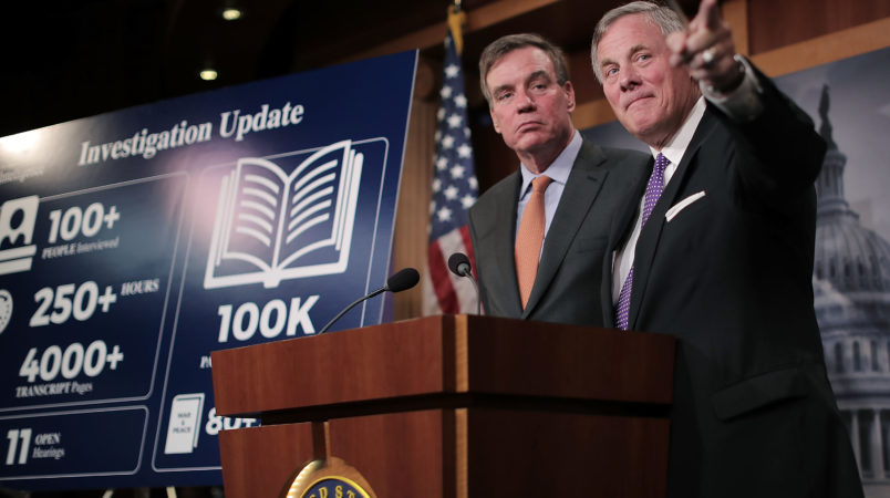Senate Intelligence Committee Chairman Richard Burr (R-NC) and committee Vice Chair Mark Warner (D-VA) hold a news conference on the status of the committee's inquiry into Russian interference in the 2016 presidential election at the U.S. Capitol October 4, 2017 in Washington, DC.