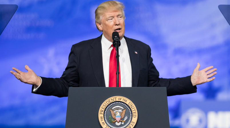 NATIONAL HARBOR, MD, UNITED STATES - 2017/02/24: President Donald Trump speaking at the American Conservative Union's 2017 Conservative Political Action Conference (CPAC). (Photo by Michael Brochstein/SOPA Images/LightRocket via Getty Images)