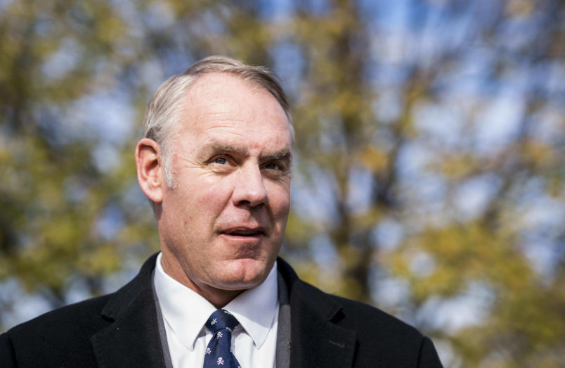 ARLINGTON, VIRGINIA - Secretary of the Interior Ryan Zinke attends an event at the U.S. Marine Corps War Memorial announcing the newly carved engravings of Afghanistan and Iraq campaigns and the restoration project of the memorial, in Arlington, Virginia Tuesday November 21, 2017. Business man and philanthropist David Rubenstein's gifted millions of dollars to the make the restoration project possible. (Photo by Melina Mara/The Washington Post)
