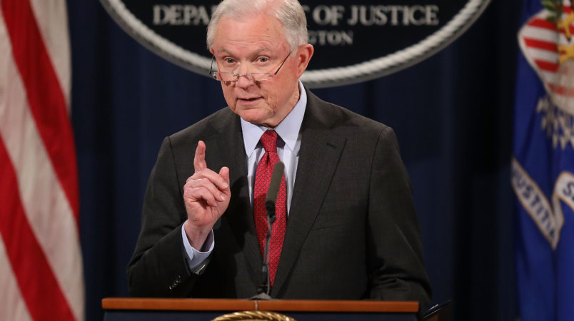 U.S. Attorney General Jeff Sessions holds a news conference at the Department of Justice December 15, 2017 in Washington, DC. Sessions called the question-and-answer session with reporters to highlight his department's fight to reduce violent crime.