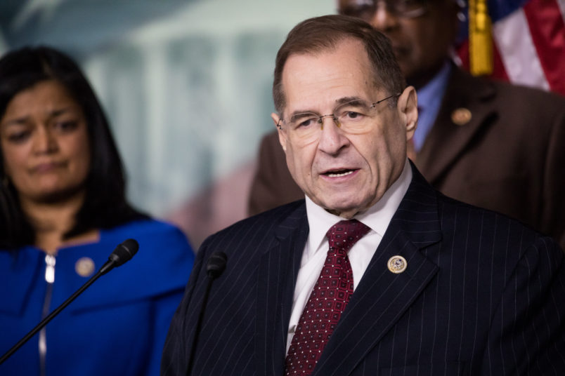 Rep. Jerry Nadler speaks with Reps Cedric Richmond, CBC and Judiciary Deomocrats by his side, as they introduced a resolution to censure President Donald Trump for what they called racist comments on Haiti, African Countries and El Salvador, on Capitol Hill, on Thursday, January 18, 2018. (Photo by Cheriss May) (Photo by Cheriss May/NurPhoto)