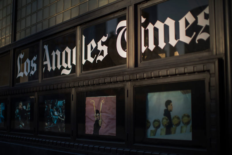 LOS ANGELES, CA - FEBRUARY 06: The Los Angeles Times building is seen on February 6, 2018 in Los Angeles, California. Parent company, Tronc, is believed to be close to selling The Time and The San Diego Union-Tribune to billionaire Los Angeles doctor, Patrick Soon-Shiong, for about $500 million.  (Photo by David McNew/Getty Images)