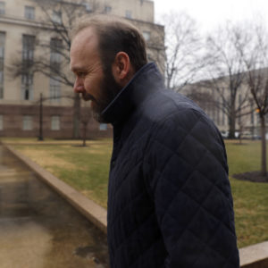 WASHINGTON, DC - FEBRUARY 04: Former Trump Aide Rick Gates attends a hearing on his fraud, conspiracy and money-laundering at the E. Barrett Prettyman United States Courthouse on February 7, 2018 in Washington, DC. Gates, who is charged along with former Trump campaign manager Paul Manafort, was in court seeking to change his legal representation. (Photo by Aaron P. Bernstein/Getty Images)
