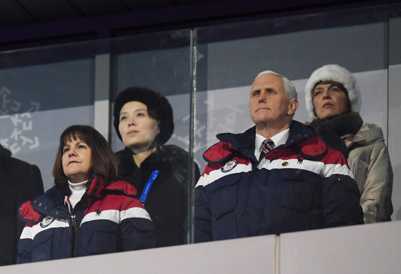during the Opening Ceremony of the PyeongChang 2018 Winter Olympic Games at PyeongChang Olympic Stadium on February 9, 2018 in Pyeongchang-gun, South Korea.