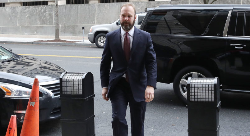 WASHINGTON, DC - FEBRUARY 23:  Richard Gates arrives at the Prettyman Federal Courthouse for a hearing February 23, 2018 in Washington, DC. Gates is expected to plead guilty to a 12-charge indictment that includes money laundering and conspiracy.  (Photo by Mark Wilson/Getty Images)