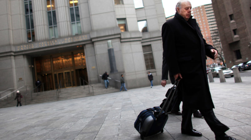 NEW YORK, NY - MARCH 08:  Raj Rajaratnam's attorney John Dowd exits the Daniel Patrick Moynihan U.S. Courthouse March 8, 2011 in New York City. It was the first day of Rajaratnam's insider-trading trial where he is facing allegations of pocketing $45 million by illegally trading on insider stock tips. (Photo by Yana Paskova/Getty Images)
