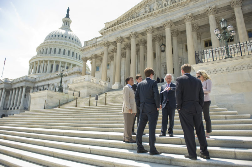 UNITED STATES - AUGUST 02:  Sen. Bob Corker, R-Tenn., talks to some of his interns on the Senate steps of the Capitol after the Senate passed a deal to raise the nation's debt limit and reduce the deficit.  (Photo By Tom Williams/Roll Call)