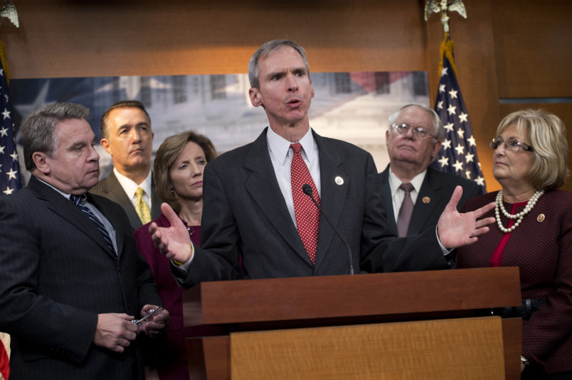 UNITED STATES - OCTOBER 09: From left, Reps. Chris Smith, R-N.J., Trent Franks, R-Ariz., Vicky Hartzler, R-Mo., Dan Lipinski, R-Ill., Joe Pitts, R-Pa., and Diane Black, R-Tenn., conduct a news conference in the Capitol Visitor Center to introduce the Abortion Insurance Full Disclosure Act. The legislation would help people easily determine which insurance plans fund abortions when they are trying to enroll in President Obama' health care exchanges. (Photo By Tom Williams/CQ Roll Call)