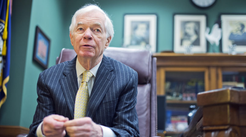 UNITED STATES - JANUARY 14: Sen. Thad Cochran, R-Miss., is interviewed by CQ Roll Call in his Dirksen Building office, January 14, 2015. (Photo By Tom Williams/CQ Roll Call)