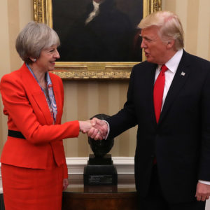 WASHINGTON, DC - JANUARY 27:  British Prime Minister Theresa May shakes hands with U.S. President Donald Trump at The White House on January 27, 2017 in Washington, DC. British Prime Minister Theresa May is on a two-day visit to the United States and will be the first world leader to meet with President Donald Trump.  (Photo by Christopher Furlong/Getty Images)