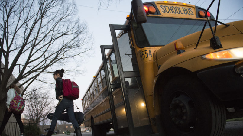 LOUISVILLE, KY - MARCH 2: Students get unloaded by bus on March, 2, 2017 at Meyzeek Middle School in Louisville, Kentucky. The Kentucky GOP-led state House passed House Bill 151 that would require Jefferson County to return to neighborhood schooling, which could undo the county's longstanding desegregation efforts. (Michael Noble, Jr. for The Washington Post)