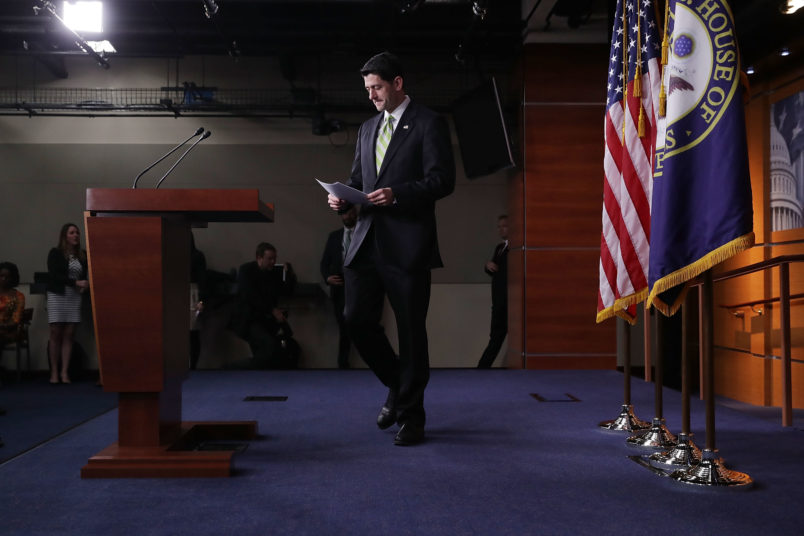 Speaker of the House Paul Ryan (R-WI) holds a news conference in the House Vistiors Center following a Republican caucus meeting in the U.S. Capitol March 24, 2017 in Washington, DC. In a big setback to the agenda of President Donald Trump and the Speaker, Ryan cancelled a vote for the American Health Care Act, the GOP plan to repeal and replace the Affordable Care Act, also called 'Obamacare.'