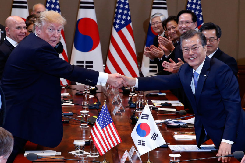 U.S. President Donald Trump zzz on November 7, 2017 in Seoul, South Korea. Trump is in South Korea as a part of his Asian tour.