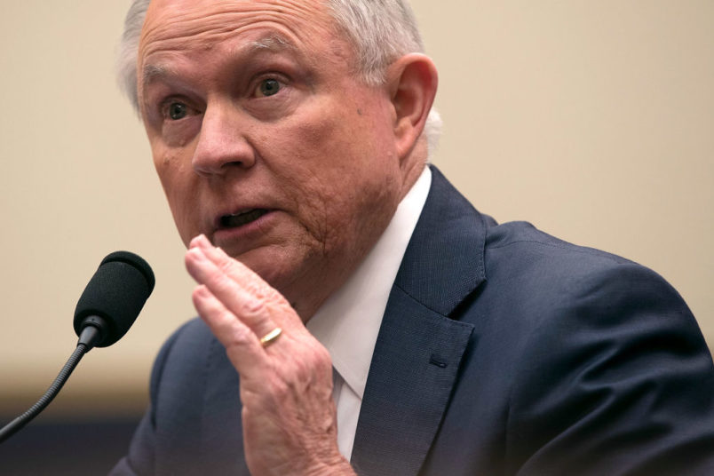 WASHINGTON, DC - NOVEMBER 14:  U.S. Attorney General Jeff Sessions testifies during a hearing before the House Judiciary Committee November 14, 2017 in Washington, DC. Sessions is expected to face questions from lawmakers again on whether he had contacts with Russians during the presidential campaign last year.  (Photo by Alex Wong/Getty Images)