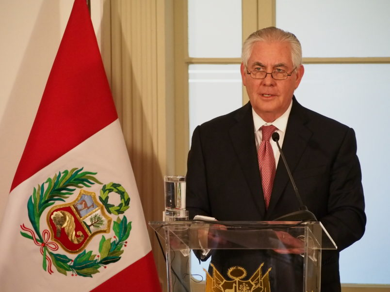 LIMA, PERU - 2018/02/05: The Secretary of State of the United States of America, Rex W. Tillerson gives a press conference in the framework of his visit to Peru as preamble to the Summit of the Americas to take place in Lima next April. (Photo by Fotoholica Press/LightRocket via Getty Images)