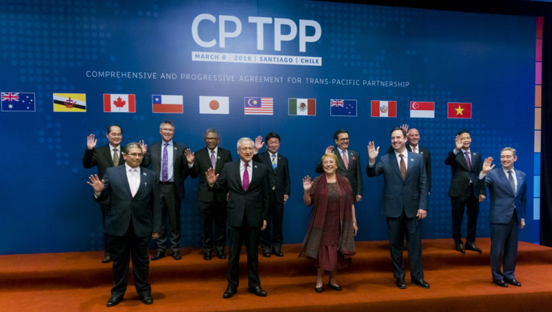 SANTIAGO, CHILE – MARCH 08: President of Chile, Michelle Bachelet (C) poses for photos with the 11 representatives that signed the Integral and Progressive Treaty of Trans-Pacific Partnership - CPTP, on March 08, 2018 in Santiago, Chile. (Photo by Sebastián Vivallo Oñate/Agencia Makro/Getty Images)