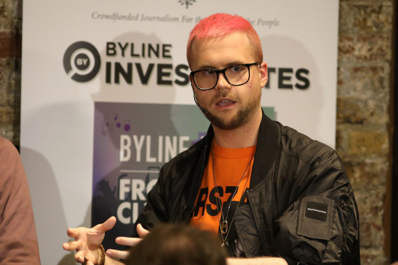 Whistleblowers speak during a press conference at the Frontline Club on March 26, 2018 in London, England. Former Vote Leave volunteer Sanni raised concerns that the official Leave campaign may have broken referendum spending rules and then tried to destroy evidence. A substantial sum was spent with AggregateIQ which has links to Cambridge Analytica. Former employee Christopher Wylie exposed how Cambridge Analytica had allegedly harvested date from millions of Facebook users to influence the outcome of the 2016 US Presidential election.