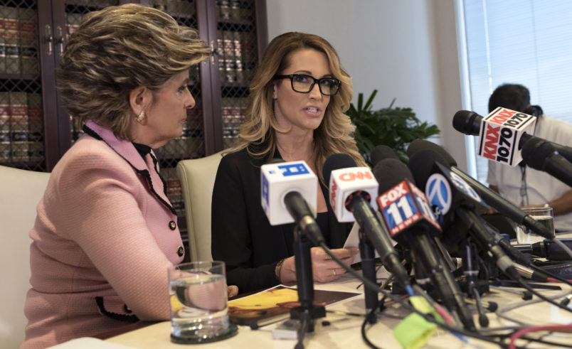Adult film performer, Jessica Drake, who accuses Republican presidential nominee, Donald Trump, of sexual misconduct speaks to reporters alongside attorney Gloria Allred (L) during a news conference in Los Angeles, California. October 22, 2016. (Photo by Ronen Tivony/NurPhoto)