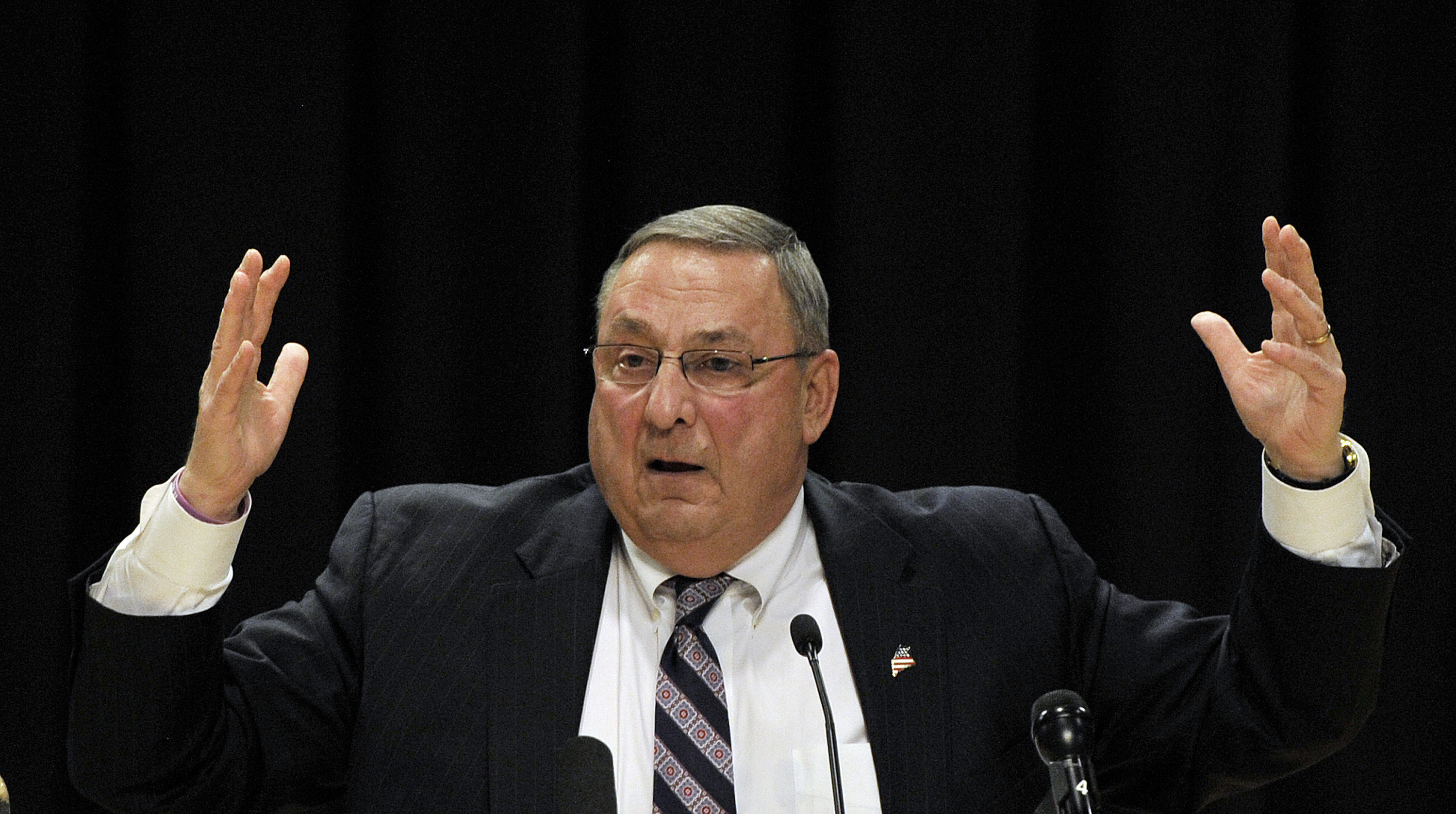 BIDDEFORD, ME - APRIL 19: Gov. Paul LePage holds a town hall meeting at Biddeford High School Tuesday, April 19, 2016. (Photo by Shawn Patrick Ouellette/Staff Photographer)