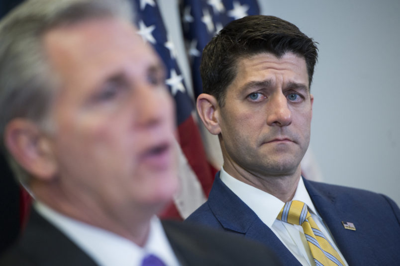 UNITED STATES - MARCH 06: Speaker of the House Paul Ryan, R-Wis., right, and House Majority Leader Kevin McCarthy, R-Calif., conduct a news conference in the Capitol after a meeting of the House Republican Conference on March 06, 2018. (Photo By Tom Williams/CQ Roll Call)