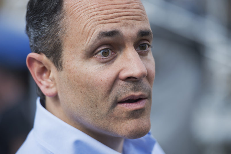 UNITED STATES - APRIL 12: Matt Bevin, republican Senate candidate  for Kentucky, talks with attendees of the Knob Creek Gun Range Machine Gun Shoot Out in West Point, Ky. (Photo By Tom Williams/CQ Roll Call)