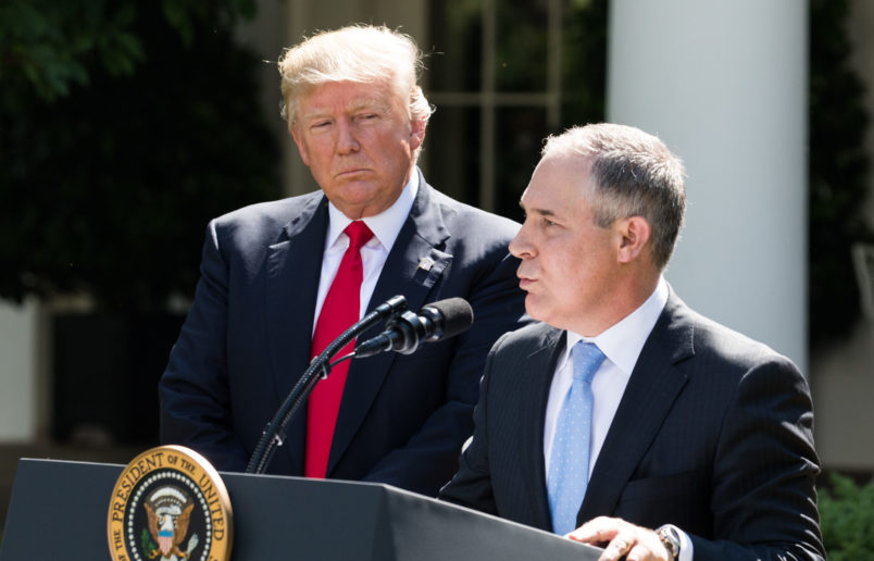Scott Pruitt, EPA Administrator, spoke after President Trump made the statement that the United States is withdrawing from the Paris Climate Accord, in the Rose Garden of the White House, On Thursday, June 1, 2017. (Photo by Cheriss May) (Photo by Cheriss May/NurPhoto)