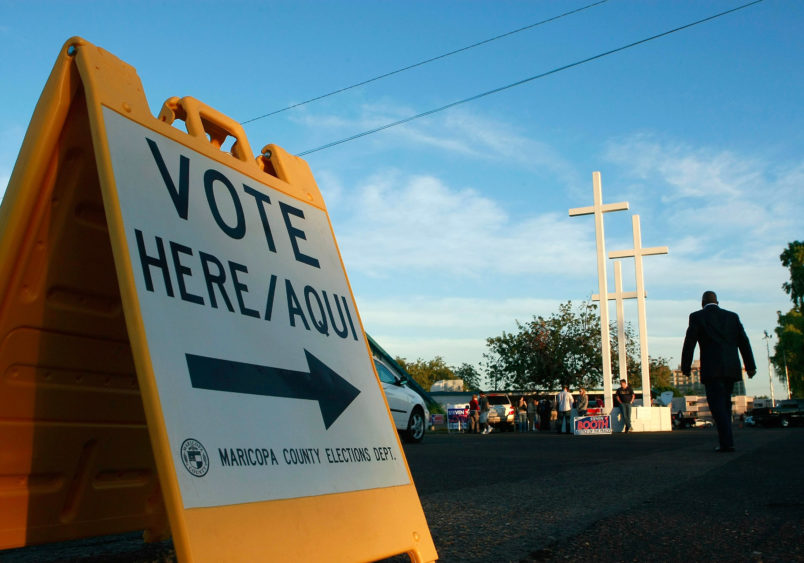 PHOENIX - NOVEMBER 4:  People arrive to vote at the Albright United Methodist Church November 4, 2008 in Phoenix, Arizona. Today millions of Americans will cast their vote for President of the United States.  (Photo by Mark Wilson/Getty Images)