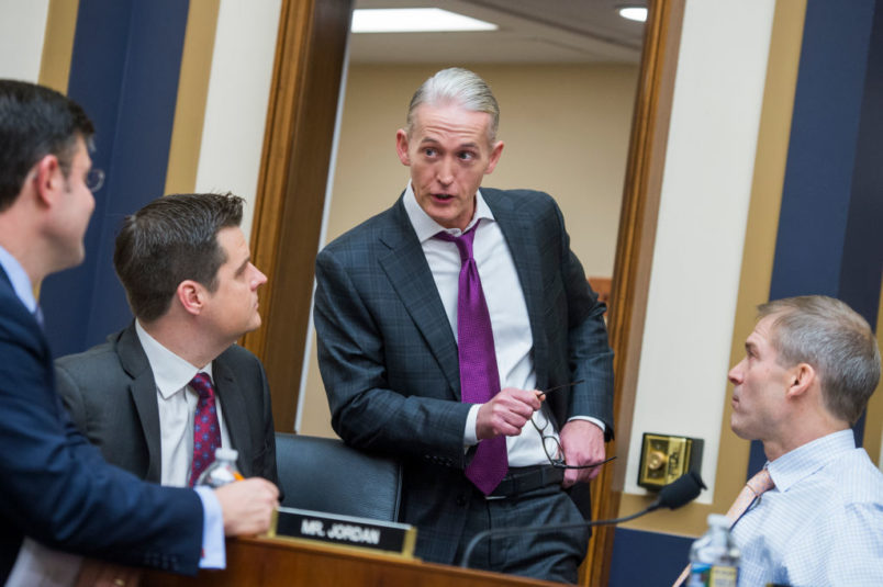UNITED STATES - DECEMBER 13: From left, Reps. Mike Johnson, R-La., Matt Gaetz, R-Fla., Trey Gowdy, R-S.C., and Jim Jordan, R-Ohio, attend a House Judiciary Committee hearing in Rayburn Building on the Justice Department's investigation of Russia's interference in the 2016 election featuring testimony by Deputy Attorney General Rod Rosenstein on December 13, 2017. (Photo By Tom Williams/CQ Roll Call)