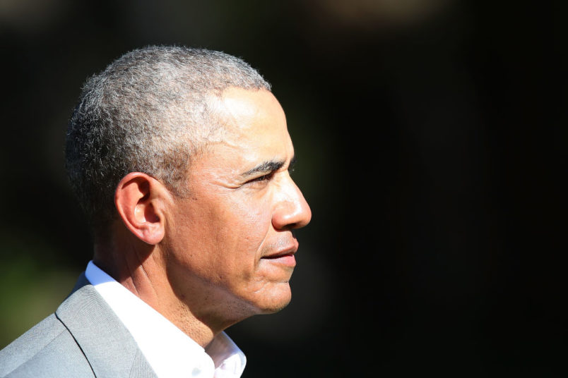 Barack Obama attends a powhiri at Government House on March 22, 2018 in Auckland, New Zealand. It is the former US president's first visit to New Zealand, where he will be giving a a series of talks. Obama will also meet New Zealand prime minister Jacinda Ardern and former PM John Key during his visit.