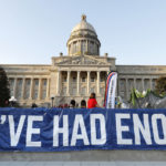 """FRANKFORT, KY-APRIL 13: Kentucky Public school teachers rally for a """"day of action"""" at the Kentucky State Capitol to try to pressure legislators to override Kentucky Governor Matt Bevin's recent veto of the state's tax and budget bills April 13, 2018 in Frankfort, Kentucky. The teachers also oppose a controversial pension reform bill which Gov. Bevin signed into law. (Bill Pugliano/Getty Images)"""